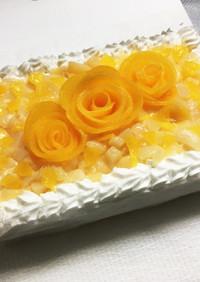 桃缶でバラのデコレーションケーキ