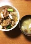 豚の生姜焼き丼プラス具沢山味噌汁