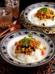 野菜と大豆とくるみで作るドライカレーの写真