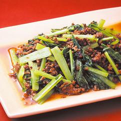 小松菜とひき肉のオイスター風味炒め