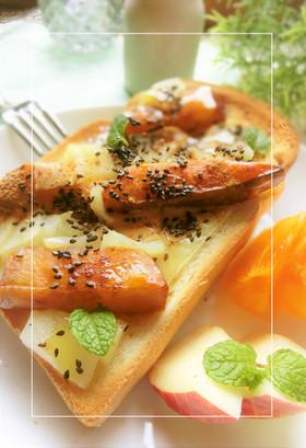 大学芋 × 蒸し林檎 のチーズトースト