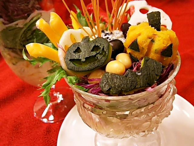 ハロウィン豆腐胡麻クリームサラダ素麺