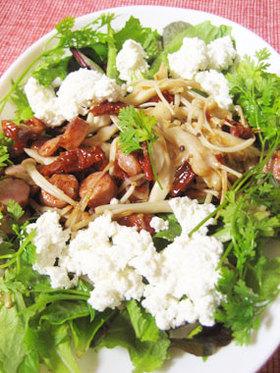 カッテージ&キノコソーセージ炒めサラダ