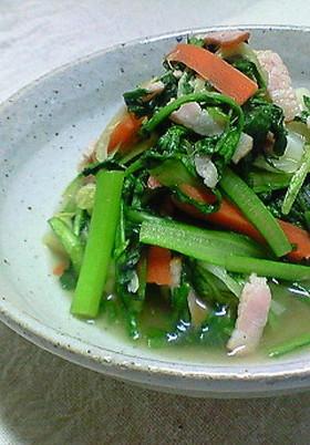 春菊とベーコンの煮物