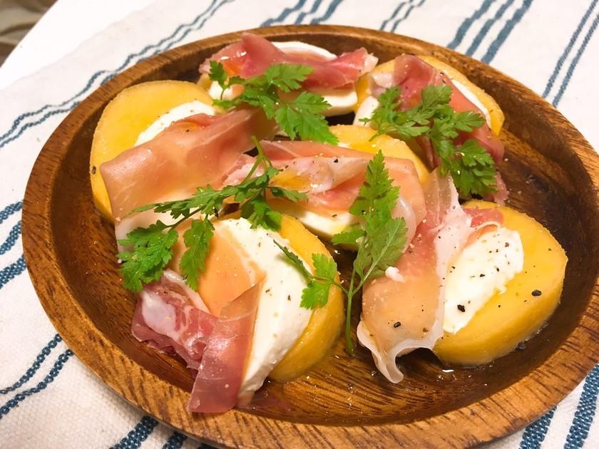 柿とモッツァレラチーズと生ハムのサラダ♪
