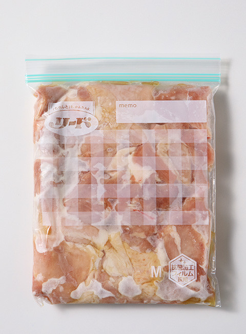 保存バッグ作り置き 鶏もも塩ごま油和え