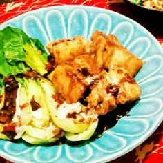 チンゲン菜と豚の梅角煮バルサミコソース