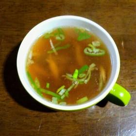ぶなしめじとネギの醤油シャンタンスープ
