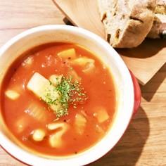 根菜とお豆のトマトスープ