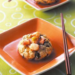 豆腐とえびの茶巾蒸し