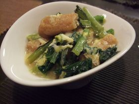 卵で変身☆小松菜と油揚げの煮びたし