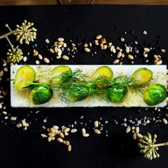 芽キャベツと柚子胡椒オイルのVEGESUSHI