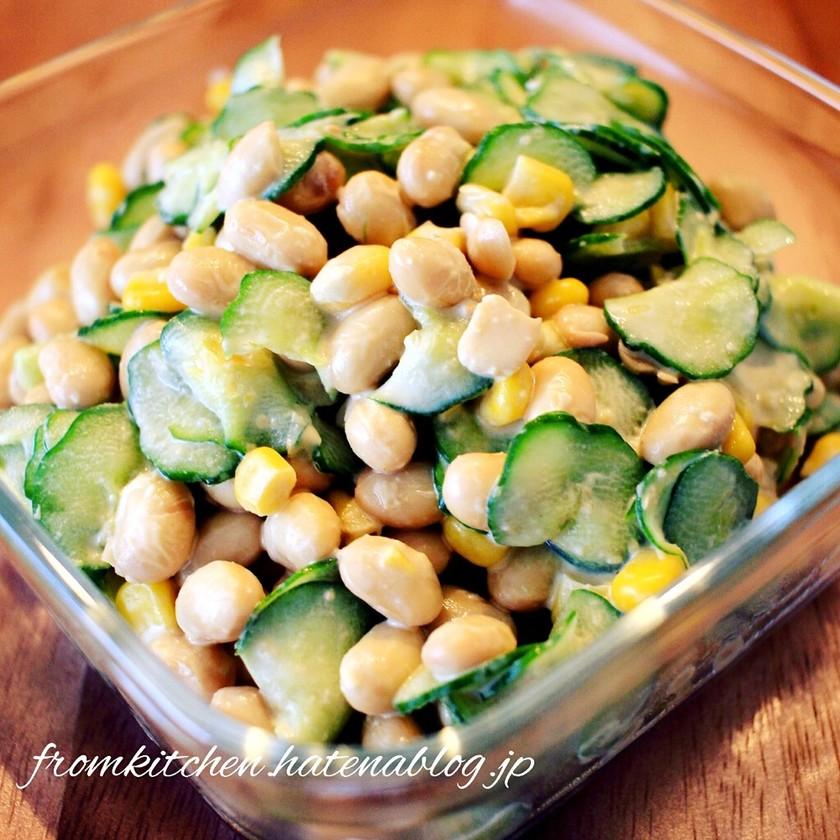 蒸し大豆で手軽に栄養たっぷりの大豆サラダ