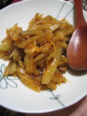 麻婆味のヤーコン炒め