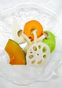 温野菜のグリーンソースかけ