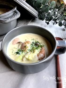 白菜とウインナーの豆乳スープ
