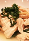 減塩☆鶏胸肉、生姜、大葉の酒蒸し