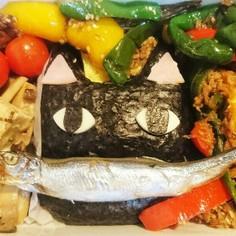 お魚くわえたクロネコ弁当