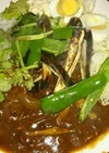焼き野菜カレーにパクチー乗せ