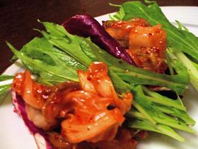 水菜とキムチの一品料理(*◕ฺω◕ฺ)ノ