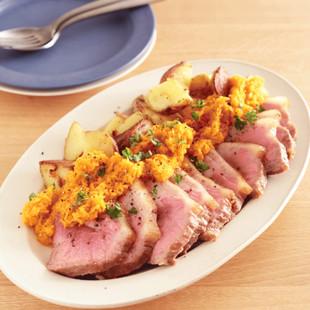 豚肉のフライパンロースト キャロットバターソース