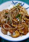 豚バラ肉ともやしの中華風あんかけ丼