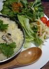 牡蠣とすりおろしかぶの豆乳チーズリゾット