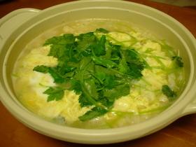 ◎帆立缶の旨みを頂き♪帆立と卵の雑炊