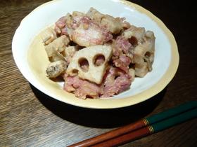 蓮根とベーコンのゴマ味噌炒め煮