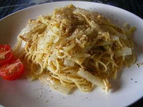 白菜のマスタードとマヨネーズのパスタ