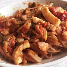イカとキャベツのトマトスパゲッティー