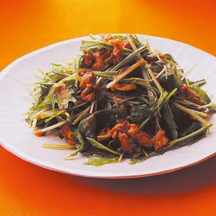水菜と豚バラのごまみそ炒め