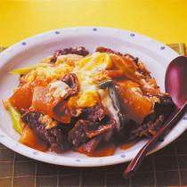 牛肉と大根の甘辛卵とじ
