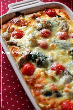 牡蠣*プチトマト*ブロッコリーのキッシュ