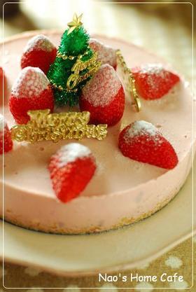 苺のレアチーズケーキ♡