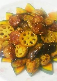 野菜と豚小間団子のハチミツ黒酢炒め
