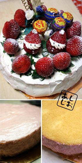 クリスマスに苺ムースのショートケーキ