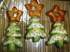 野菜の生地で☆★クリスマスツリーパン★☆