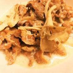 牛肉とキノコのクリーム煮