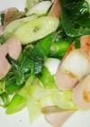 ボーソー米油でネギと魚肉ソーセージ炒め