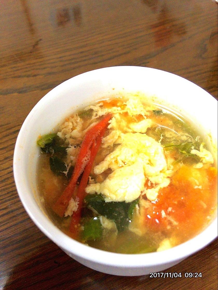 ほうれん草のトマたまスープ