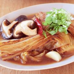 焼き白菜と鶏肉の甘辛煮