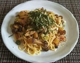 茸と秋野菜の和風クリームパスタ