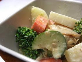 冬野菜、セロリと帆立の胡麻マヨサラダ