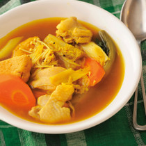 鶏とがんものカレースープ