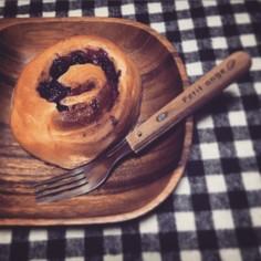 自家製ブルーベリージャムロールパン
