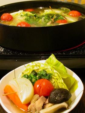 バジルとトマトのお鍋