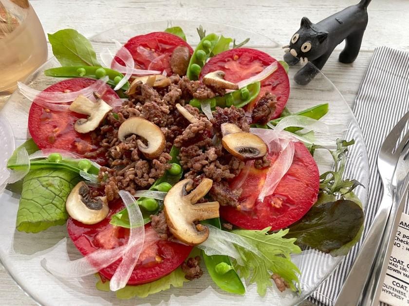 トマトの挽肉HOTドレッシング