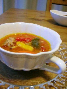 チキンとパプリカのトマトスープ