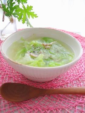 5分でスープ♪ベーコン&レタスコンソメ